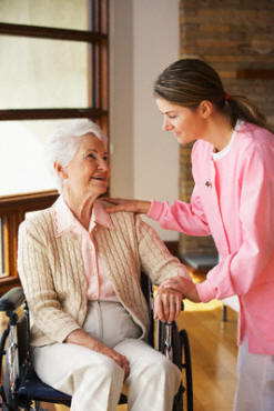 Nurse and Elderly in lobby